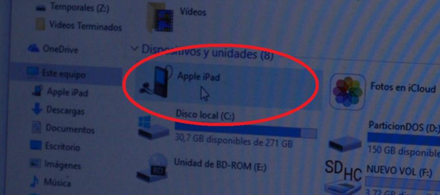 pc no reconoce iPhone o iPad