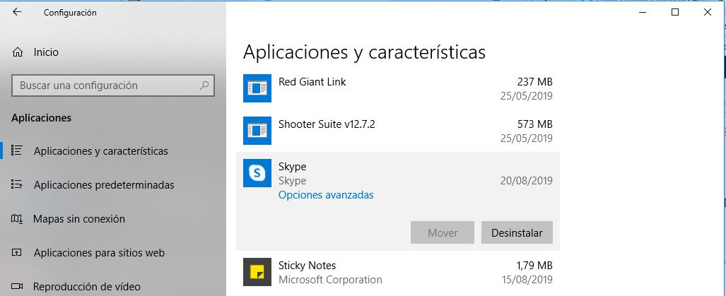 Desinstalar Aplicaciones en Windows 10